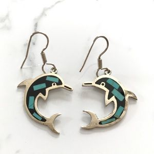 Vintage Sterling Silver Dolphin Earrings